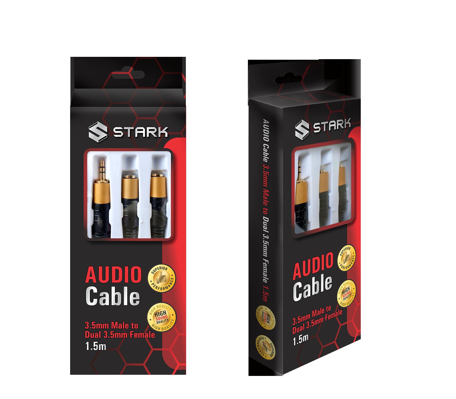 STARK kabl audio 3.5mm stereo na 2X3.5mm stereo 1.5m