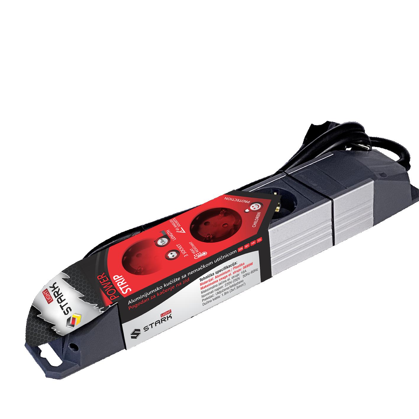 STARK Light Produžni kabl ALU 1.8m, 3 utičnice (Slika 2)